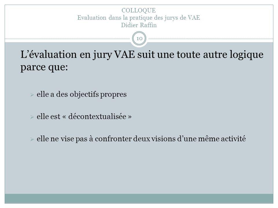 COLLOQUE Evaluation dans la pratique des jurys de VAE Didier Raffin 10 Lévaluation en jury VAE suit une toute autre logique parce que: elle a des objectifs propres elle est « décontextualisée » elle ne vise pas à confronter deux visions dune même activité