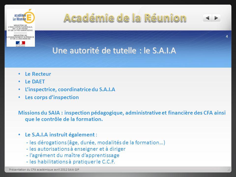 Une autorité de tutelle : le S.A.I.A 4 Présentation du CFA académique avril 2012 SAIA GIP Le Recteur Le DAET Linspectrice, coordinatrice du S.A.I.A Le