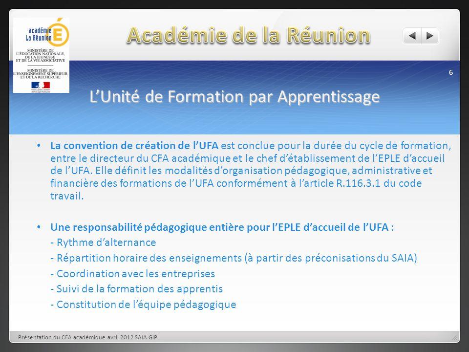 LUnité de Formation par Apprentissage 6 Présentation du CFA académique avril 2012 SAIA GIP La convention de création de lUFA est conclue pour la durée