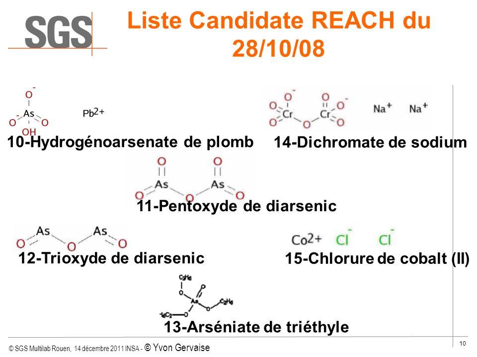 © SGS Multilab Rouen, 14 décembre 2011 INSA - © Yvon Gervaise 10 14-Dichromate de sodium 15-Chlorure de cobalt (II) 12-Trioxyde de diarsenic 10-Hydrog