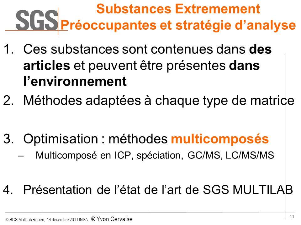 © SGS Multilab Rouen, 14 décembre 2011 INSA - © Yvon Gervaise 11 Substances Extremement Préoccupantes et stratégie danalyse 1.Ces substances sont cont