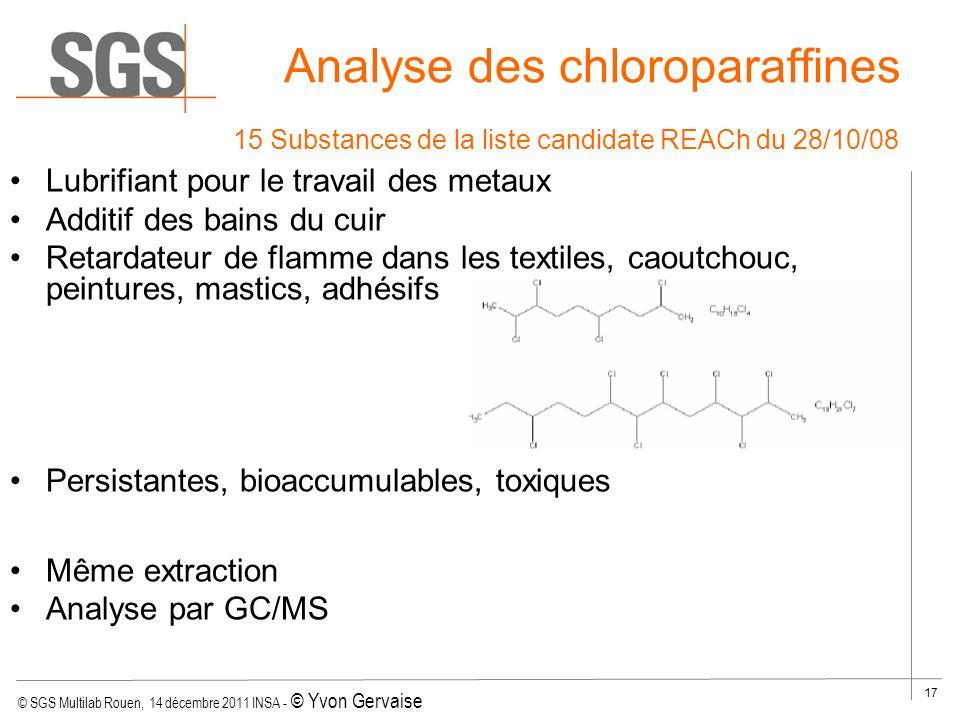 © SGS Multilab Rouen, 14 décembre 2011 INSA - © Yvon Gervaise 17 Analyse des chloroparaffines Lubrifiant pour le travail des metaux Additif des bains