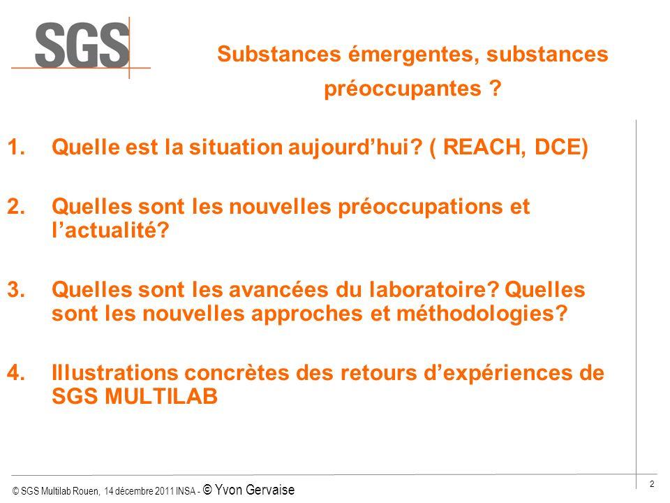 © SGS Multilab Rouen, 14 décembre 2011 INSA - © Yvon Gervaise 43 Ketoprofen (LC/MS) –Extraction par SPE : Oasis HLB 60 mg / 3 mL Dépôt de 200 mL de léchantillon Elution avec du méthanol Reconstitution dans 1,0 mL MeOH/H 2 O (25/75, v/v) Substances émergentes : Résidus danti-inflammatoires Injection en LC-MS/MS