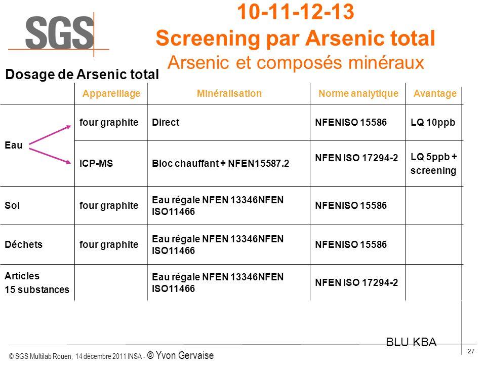 © SGS Multilab Rouen, 14 décembre 2011 INSA - © Yvon Gervaise 27 10-11-12-13 Screening par Arsenic total Arsenic et composés minéraux Dosage de Arseni