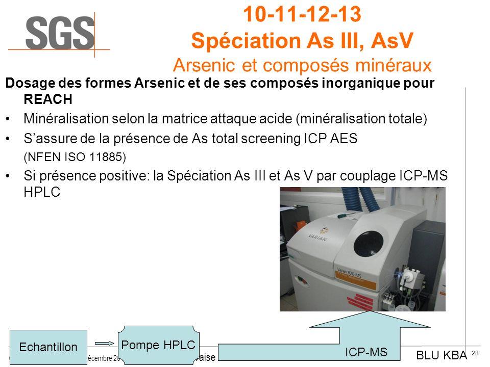 © SGS Multilab Rouen, 14 décembre 2011 INSA - © Yvon Gervaise 28 10-11-12-13 Spéciation As III, AsV Arsenic et composés minéraux Dosage des formes Ars
