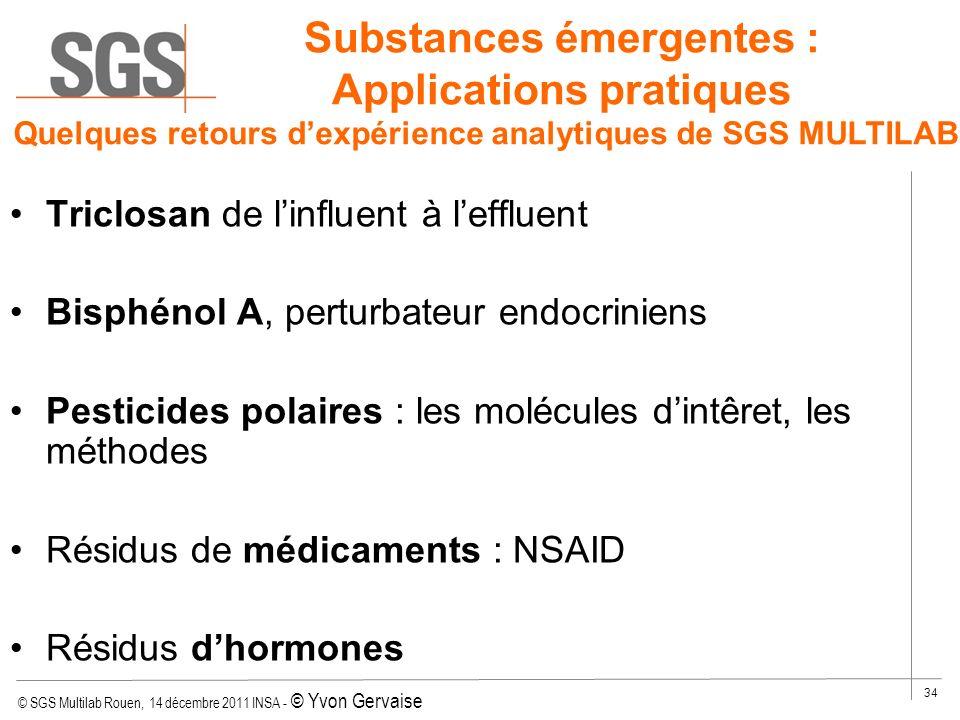 © SGS Multilab Rouen, 14 décembre 2011 INSA - © Yvon Gervaise 34 Substances émergentes : Applications pratiques Triclosan de linfluent à leffluent Bis