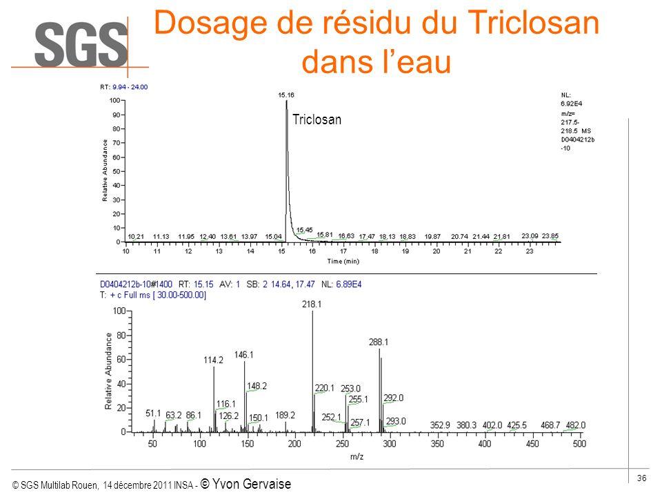 © SGS Multilab Rouen, 14 décembre 2011 INSA - © Yvon Gervaise 36 Dosage de résidu du Triclosan dans leau Influent et éffluent Triclosan