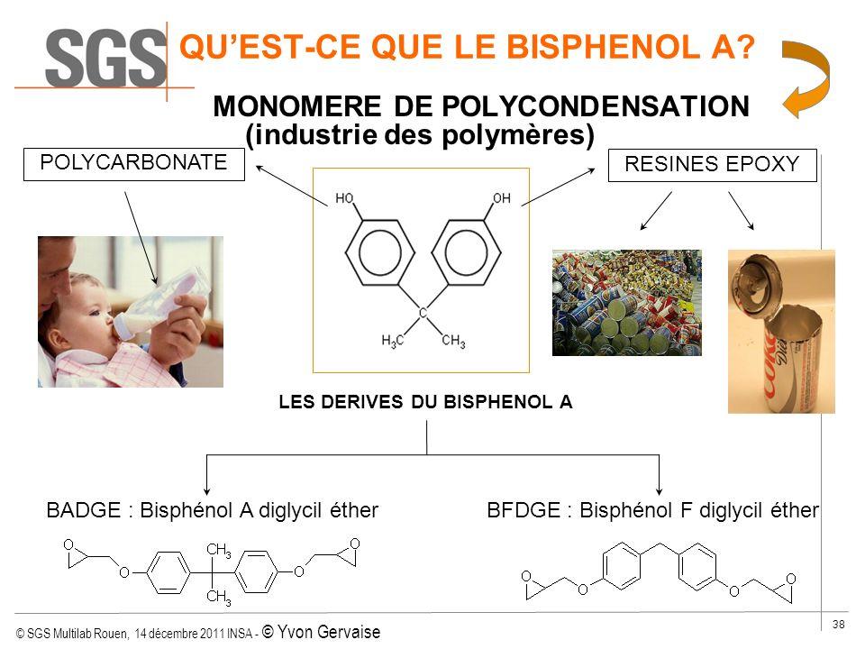 © SGS Multilab Rouen, 14 décembre 2011 INSA - © Yvon Gervaise 38 QUEST-CE QUE LE BISPHENOL A? MONOMERE DE POLYCONDENSATION (industrie des polymères) P