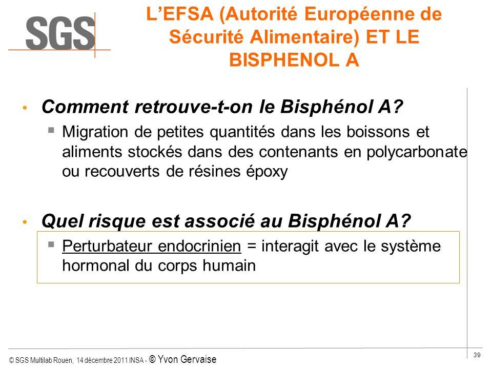 © SGS Multilab Rouen, 14 décembre 2011 INSA - © Yvon Gervaise 39 LEFSA (Autorité Européenne de Sécurité Alimentaire) ET LE BISPHENOL A Comment retrouv