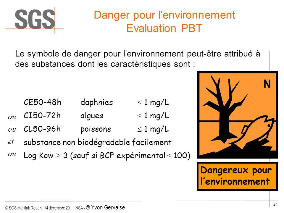 © SGS Multilab Rouen, 14 décembre 2011 INSA - © Yvon Gervaise 49 Le symbole de danger pour lenvironnement peut-être attribué à des substances dont les