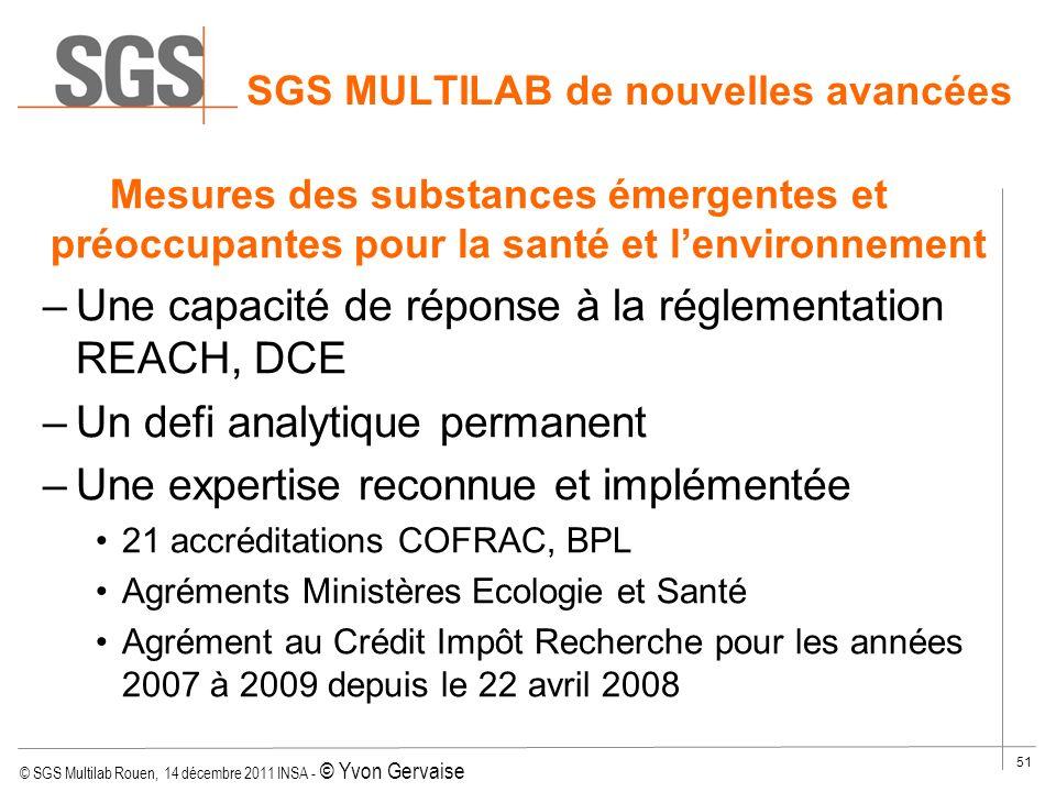 © SGS Multilab Rouen, 14 décembre 2011 INSA - © Yvon Gervaise 51 SGS MULTILAB de nouvelles avancées Mesures des substances émergentes et préoccupantes