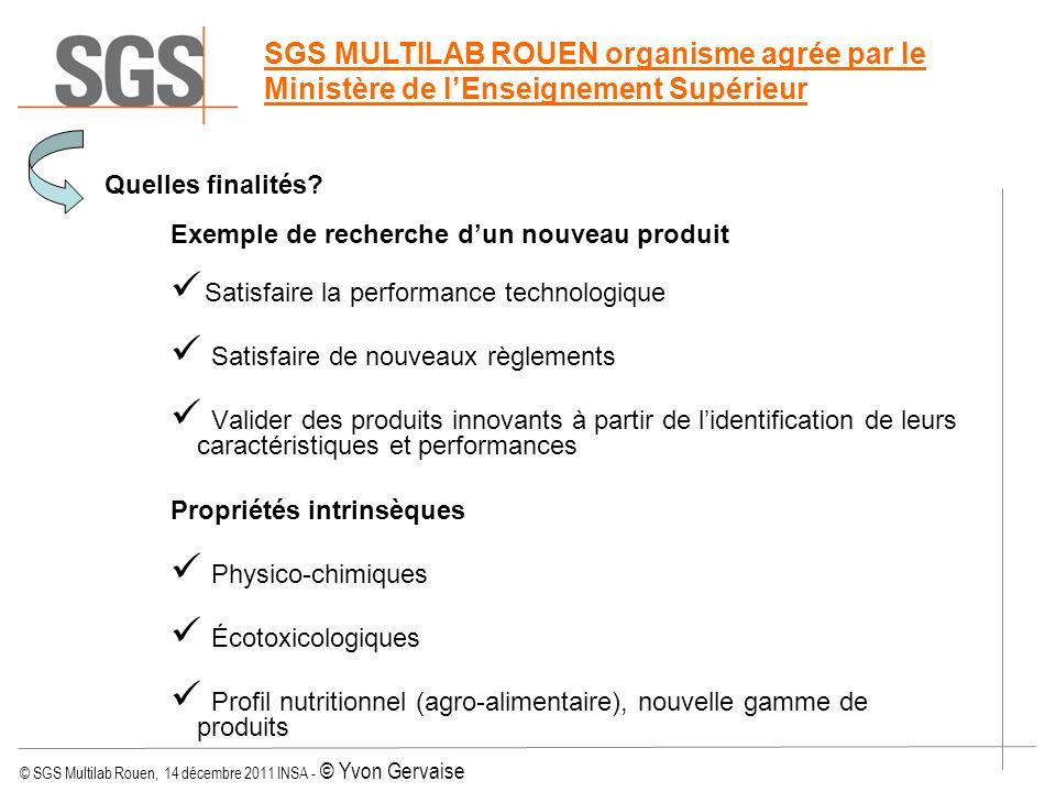 © SGS Multilab Rouen, 14 décembre 2011 INSA - © Yvon Gervaise Quelles finalités? Exemple de recherche dun nouveau produit Satisfaire la performance te