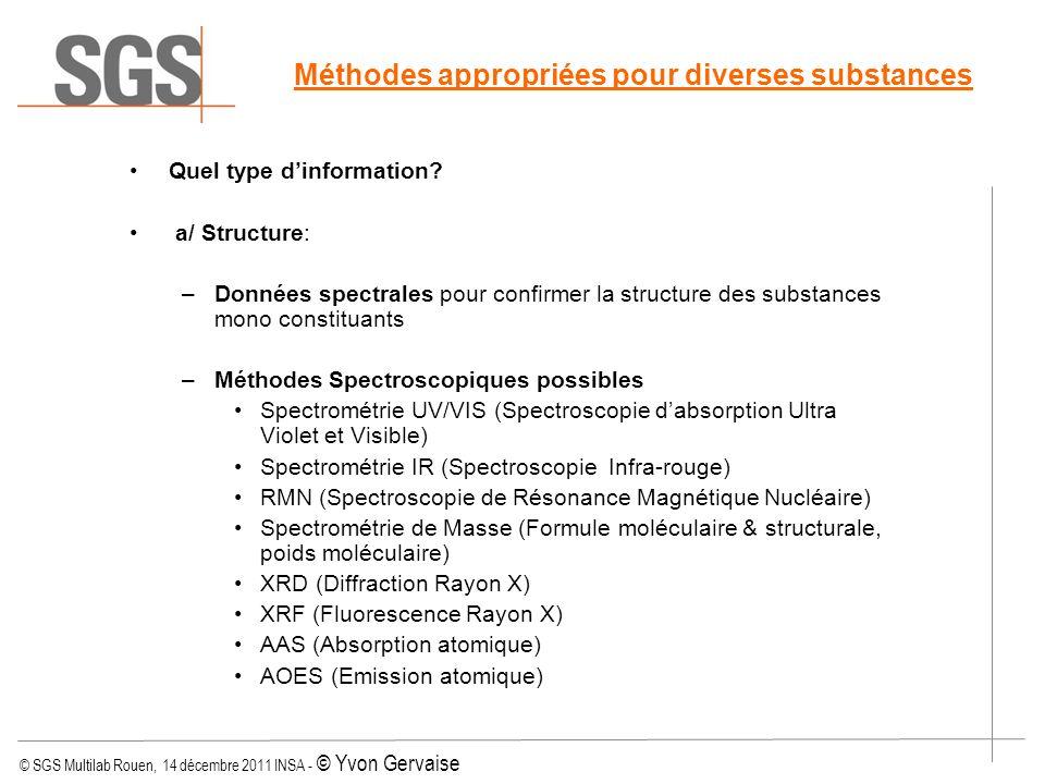 © SGS Multilab Rouen, 14 décembre 2011 INSA - © Yvon Gervaise Méthodes appropriées pour diverses substances Quel type dinformation? a/ Structure: –Don