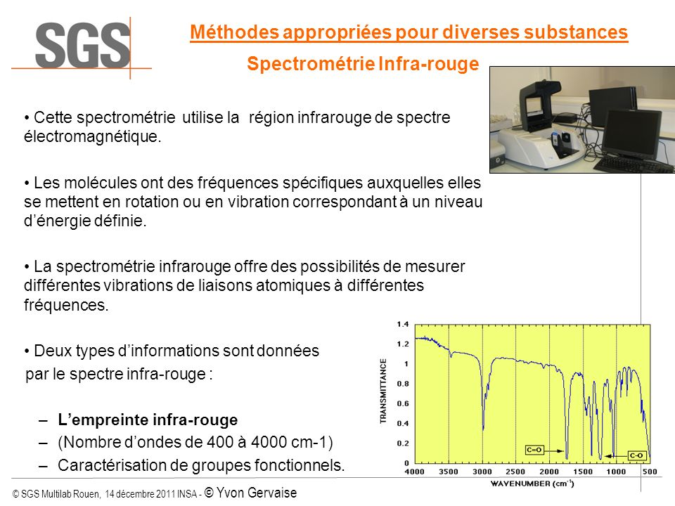 © SGS Multilab Rouen, 14 décembre 2011 INSA - © Yvon Gervaise Méthodes appropriées pour diverses substances Spectrométrie Infra-rouge Cette spectromét