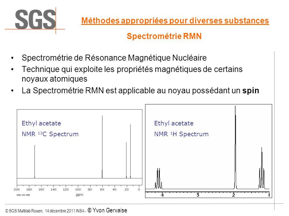 © SGS Multilab Rouen, 14 décembre 2011 INSA - © Yvon Gervaise Méthodes appropriées pour diverses substances Spectrométrie RMN Spectrométrie de Résonan