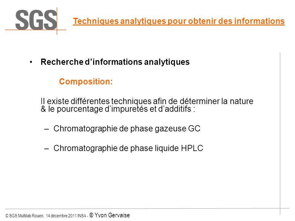 © SGS Multilab Rouen, 14 décembre 2011 INSA - © Yvon Gervaise Techniques analytiques pour obtenir des informations Recherche dinformations analytiques