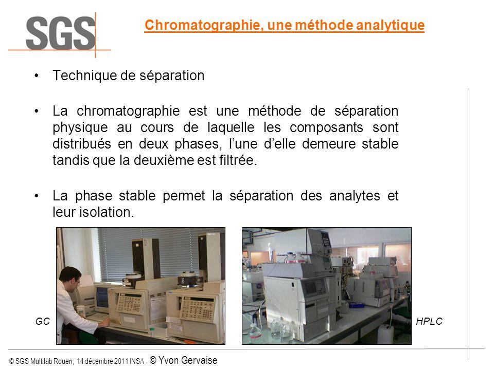 © SGS Multilab Rouen, 14 décembre 2011 INSA - © Yvon Gervaise Chromatographie, une méthode analytique Technique de séparation La chromatographie est u