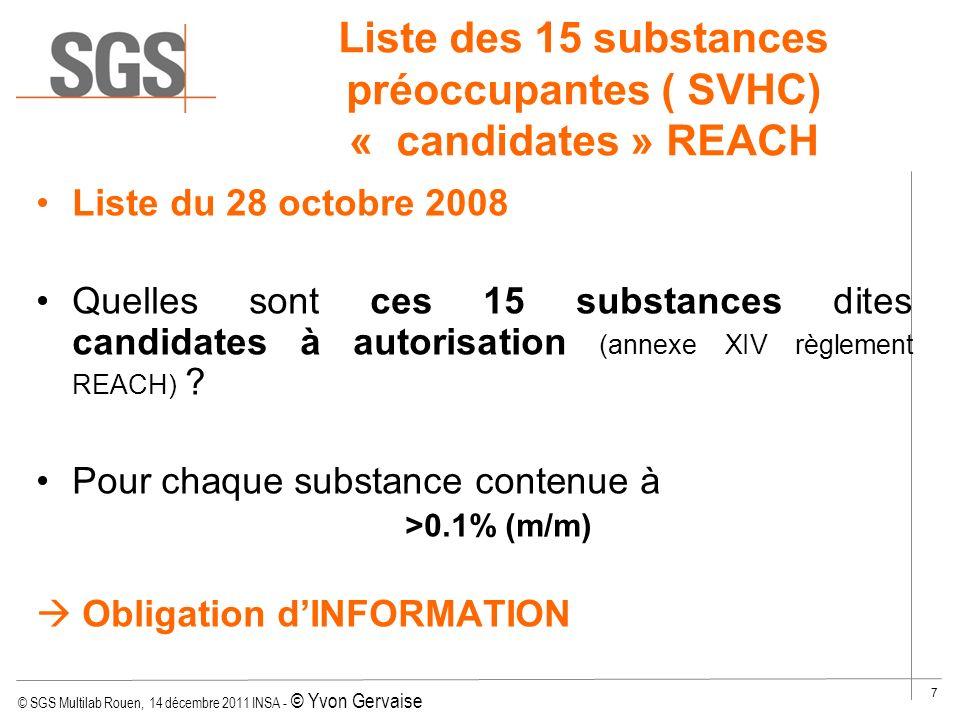 © SGS Multilab Rouen, 14 décembre 2011 INSA - © Yvon Gervaise 8 2-musk xylene 7-Paraffines chlorées, C10-13 Liste Candidate REACH du 28/10/08 1- Anthracène 8-4,4 Diaminodiphenylmethane 9-Oxyde de bis(tributyletain) 5-Hexabromocyclododecane