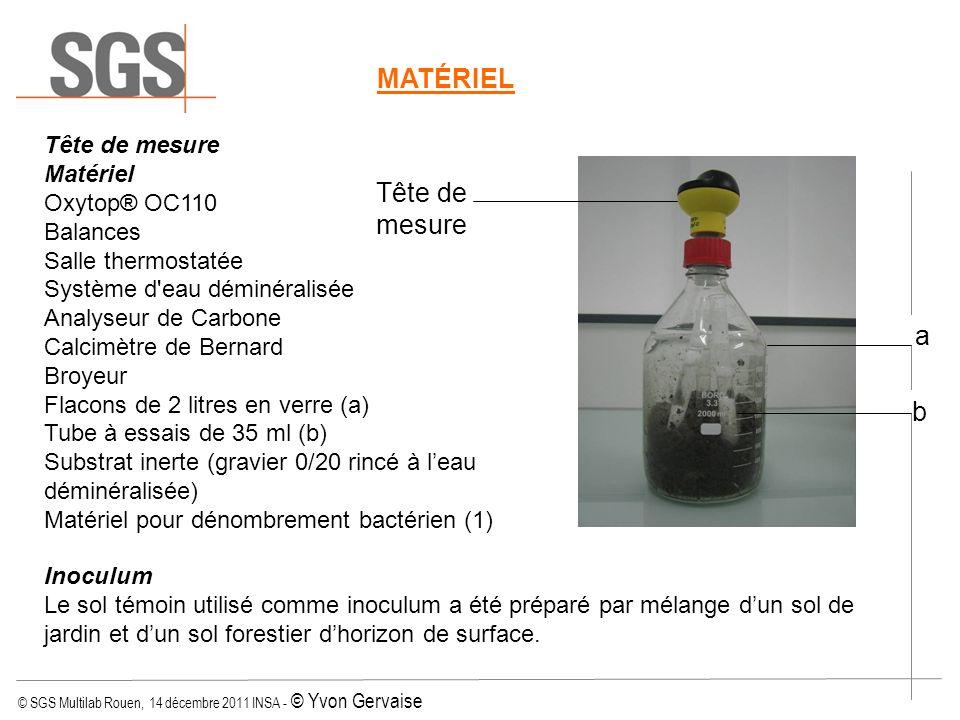 © SGS Multilab Rouen, 14 décembre 2011 INSA - © Yvon Gervaise Tête de mesure Matériel Oxytop® OC110 Balances Salle thermostatée Système d'eau déminéra