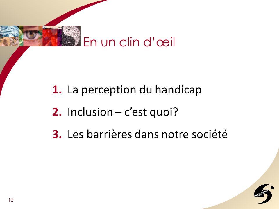 En un clin dœil 12 1. La perception du handicap 2. Inclusion – cest quoi? 3. Les barrières dans notre société