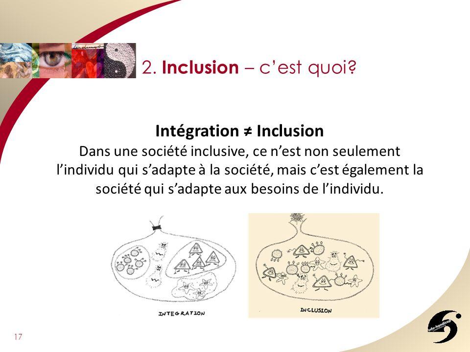 17 2. Inclusion – cest quoi? Intégration Inclusion Dans une société inclusive, ce nest non seulement lindividu qui sadapte à la société, mais cest éga