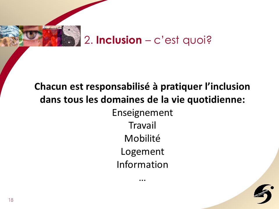 18 2. Inclusion – cest quoi? Chacun est responsabilisé à pratiquer linclusion dans tous les domaines de la vie quotidienne: Enseignement Travail Mobil
