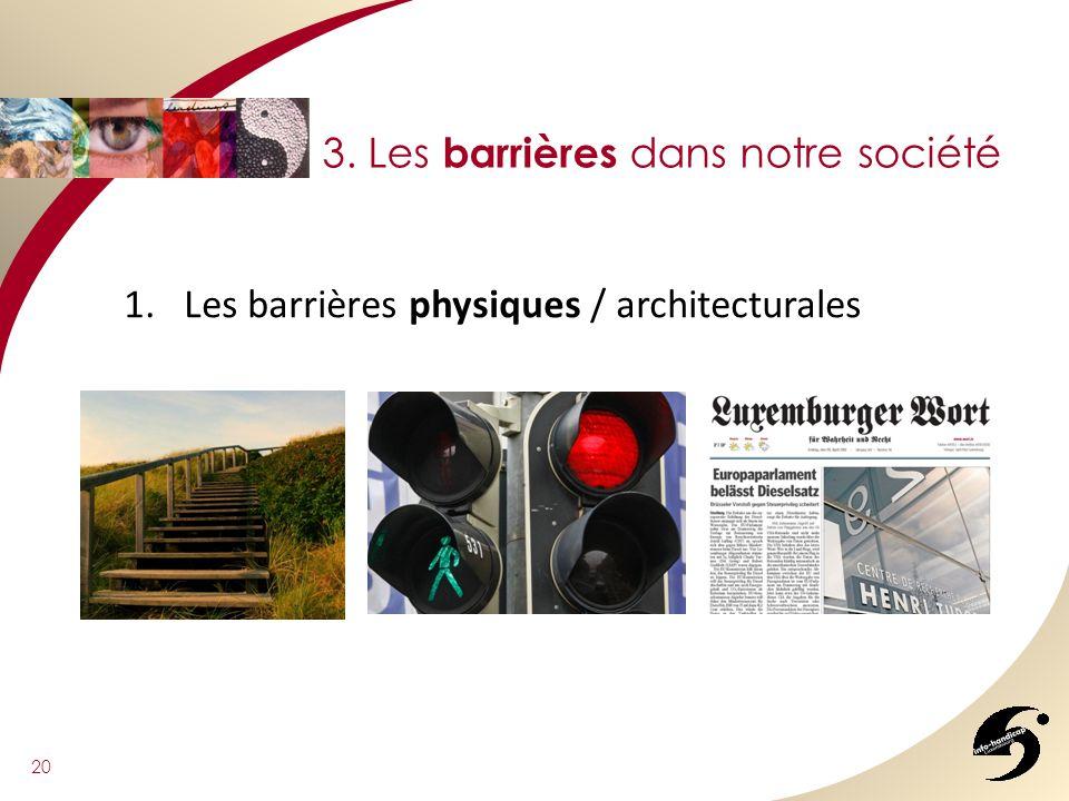 20 3. Les barrières dans notre société 1.Les barrières physiques / architecturales