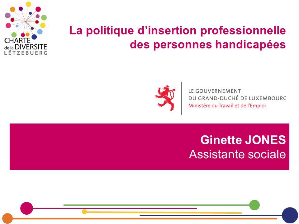 Ginette JONES Assistante sociale La politique dinsertion professionnelle des personnes handicapées