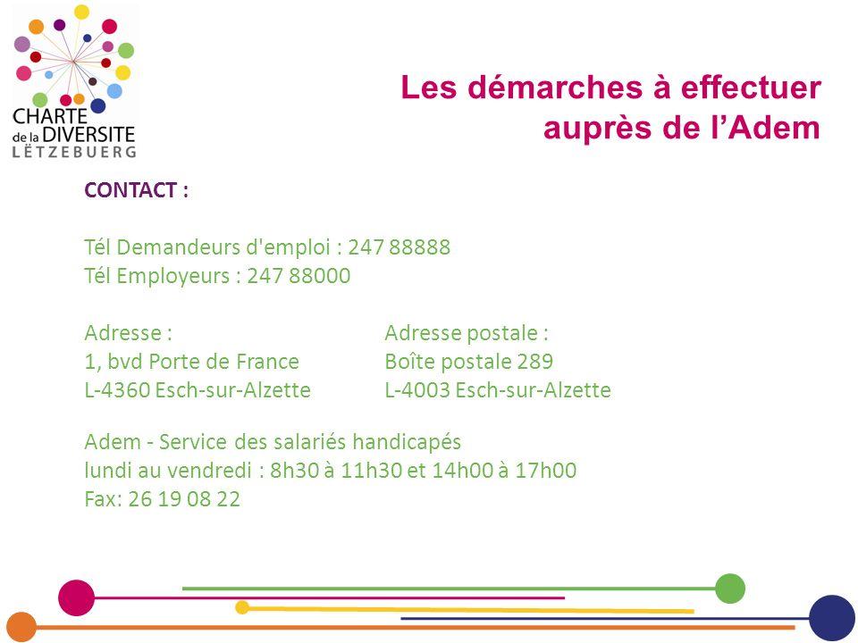 CONTACT : Tél Demandeurs d'emploi : 247 88888 Tél Employeurs : 247 88000 Adresse :Adresse postale : 1, bvd Porte de FranceBoîte postale 289 L-4360 Esc