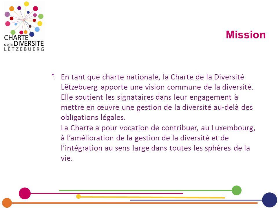En tant que charte nationale, la Charte de la Diversité Lëtzebuerg apporte une vision commune de la diversité. Elle soutient les signataires dans leur