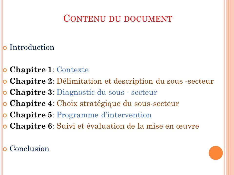 C ONTENU DU DOCUMENT Introduction Chapitre 1 : Contexte Chapitre 2 : Délimitation et description du sous -secteur Chapitre 3 : Diagnostic du sous - se