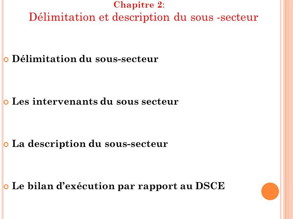 Chapitre 2 : Délimitation et description du sous -secteur Délimitation du sous-secteur Les intervenants du sous secteur La description du sous-secteur