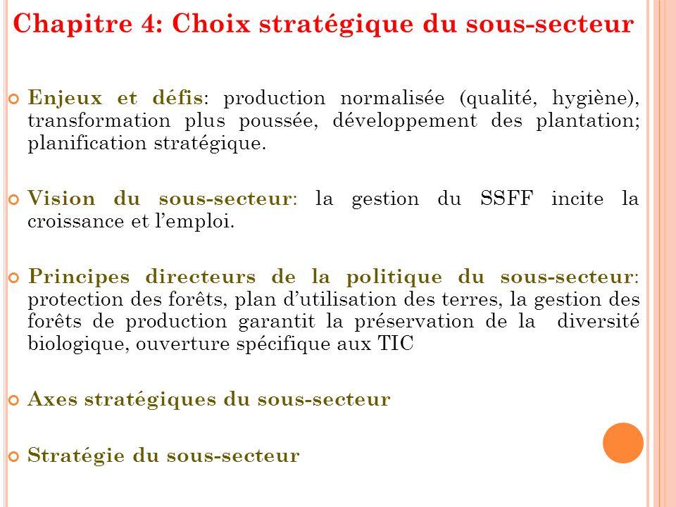 Chapitre 4: Choix stratégique du sous-secteur Enjeux et défis : production normalisée (qualité, hygiène), transformation plus poussée, développement d