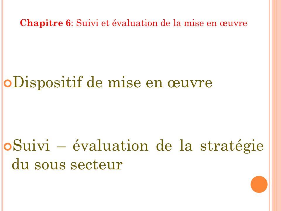 Chapitre 6 : Suivi et évaluation de la mise en œuvre Dispositif de mise en œuvre Suivi – évaluation de la stratégie du sous secteur
