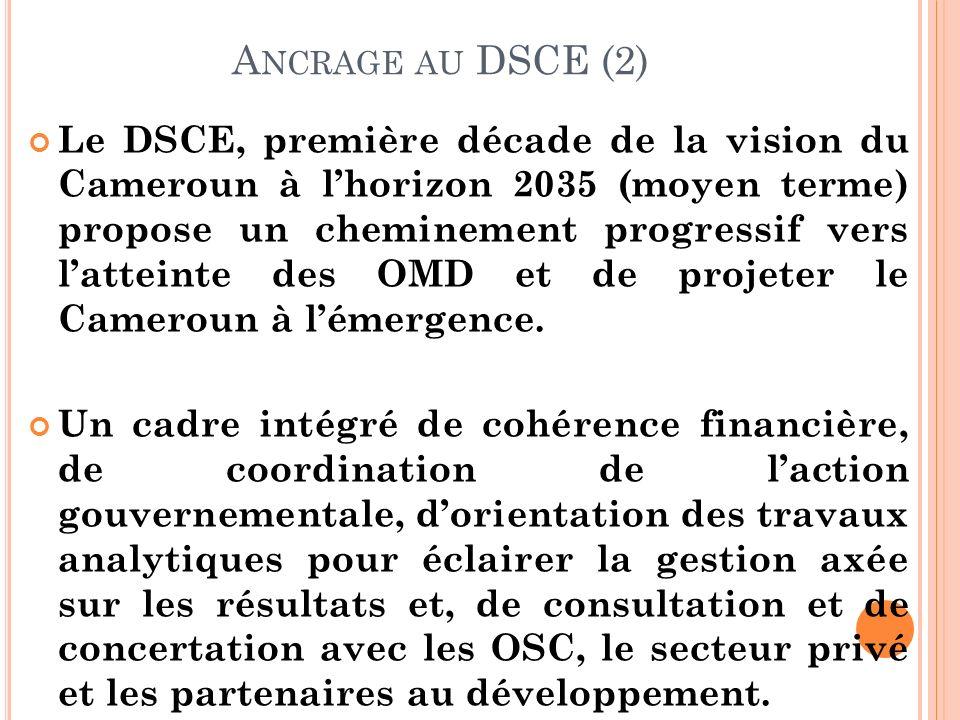 A NCRAGE AU DSCE (2) Le DSCE, première décade de la vision du Cameroun à lhorizon 2035 (moyen terme) propose un cheminement progressif vers latteinte