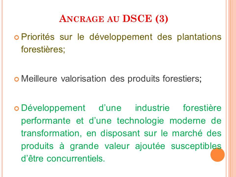 A NCRAGE AU DSCE (3) Priorités sur le développement des plantations forestières; Meilleure valorisation des produits forestiers; Développement dune in