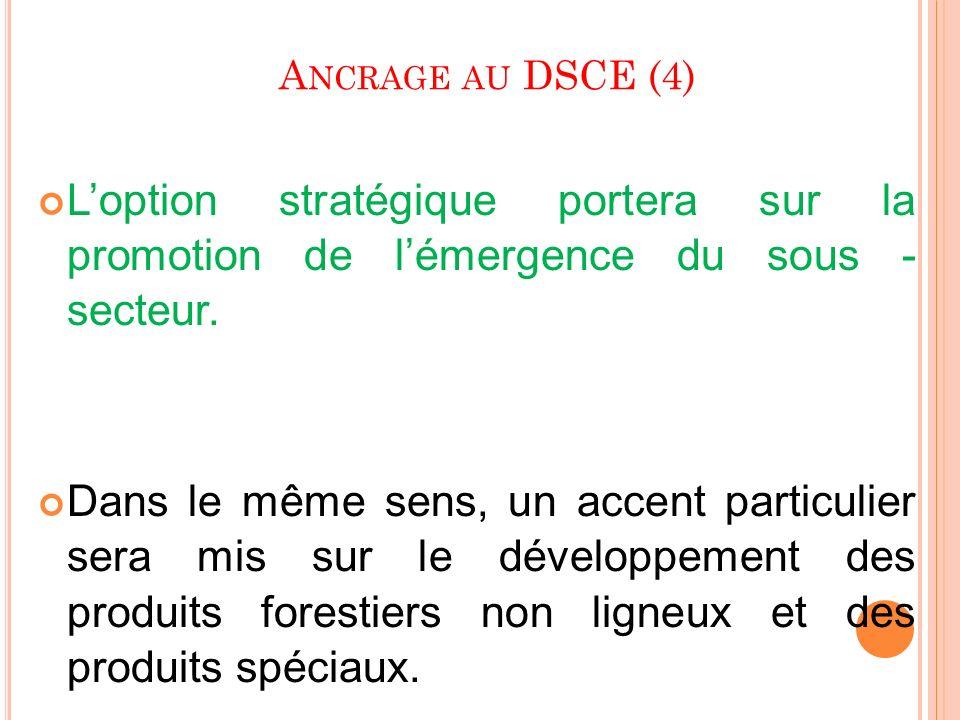 A NCRAGE AU DSCE (4) Loption stratégique portera sur la promotion de lémergence du sous - secteur. Dans le même sens, un accent particulier sera mis s