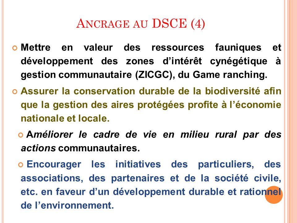 A NCRAGE AU DSCE (4) Mettre en valeur des ressources fauniques et développement des zones dintérêt cynégétique à gestion communautaire (ZICGC), du Gam