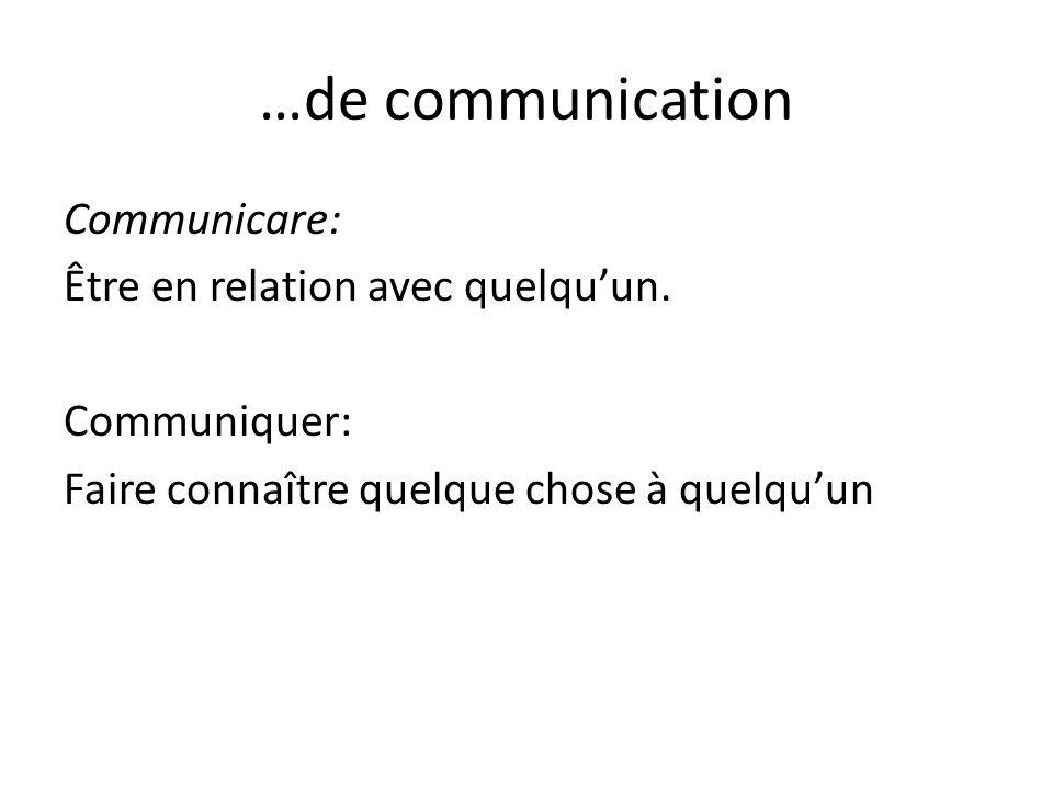 …de communication Communicare: Être en relation avec quelquun.