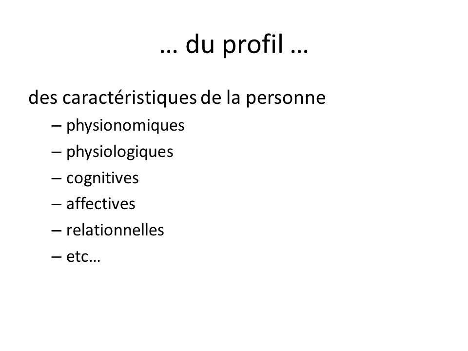 … du profil … des caractéristiques de la personne – physionomiques – physiologiques – cognitives – affectives – relationnelles – etc…