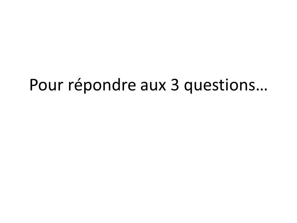 Pour répondre aux 3 questions… … utiliser loutil…