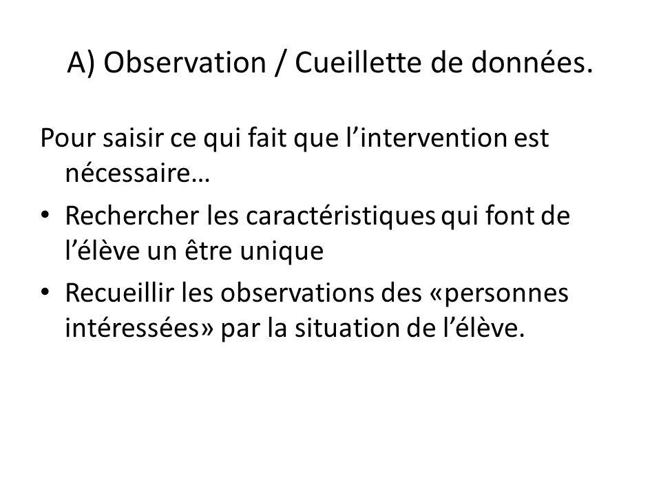 A) Observation / Cueillette de données.