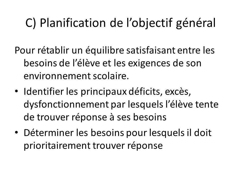 C) Planification de lobjectif général Pour rétablir un équilibre satisfaisant entre les besoins de lélève et les exigences de son environnement scolaire.