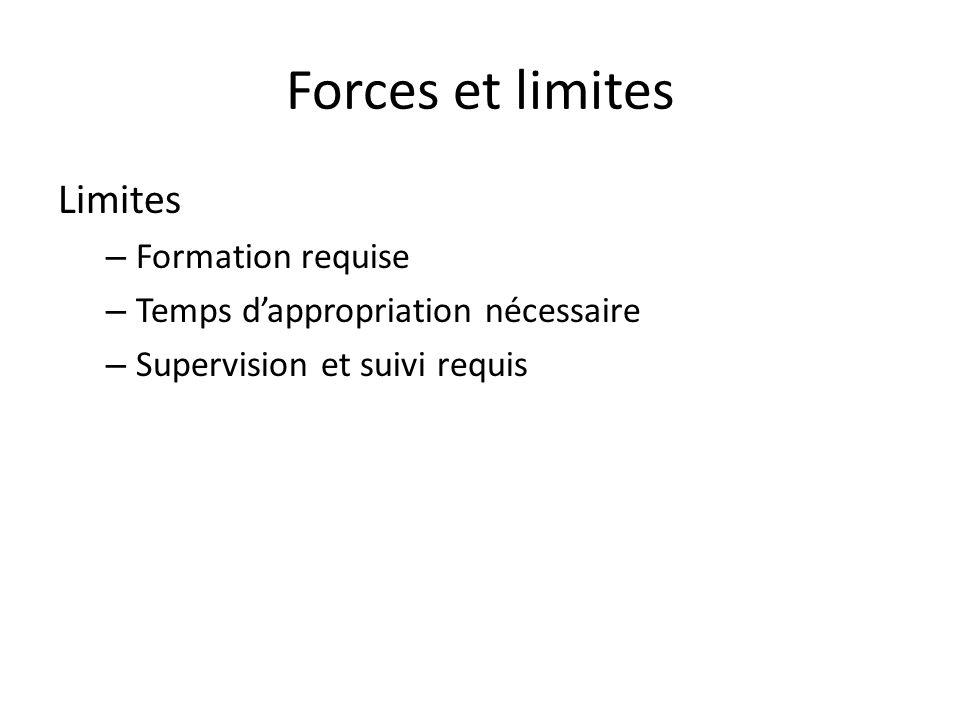 Forces et limites Limites – Formation requise – Temps dappropriation nécessaire – Supervision et suivi requis