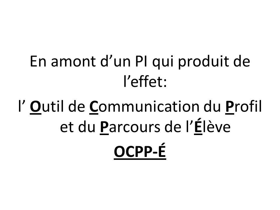 En amont dun PI qui produit de leffet: l Outil de Communication du Profil et du Parcours de lÉlève OCPP-É