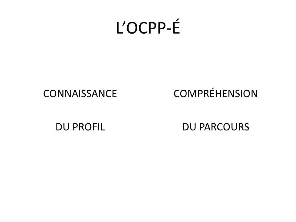 LOCPP-É CONNAISSANCE DU PROFIL COMPRÉHENSION DU PARCOURS