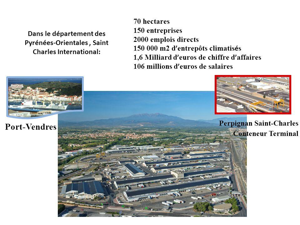 Département des PO Port-Vendres Perpignan Saint-Charles Conteneur Terminal 70 hectares 150 entreprises 2000 emplois directs 150 000 m2 d entrepôts cli
