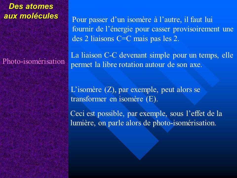 Des atomes aux molécules Pour passer dun isomère à lautre, il faut lui fournir de lénergie pour casser provisoirement une des 2 liaisons C=C mais pas