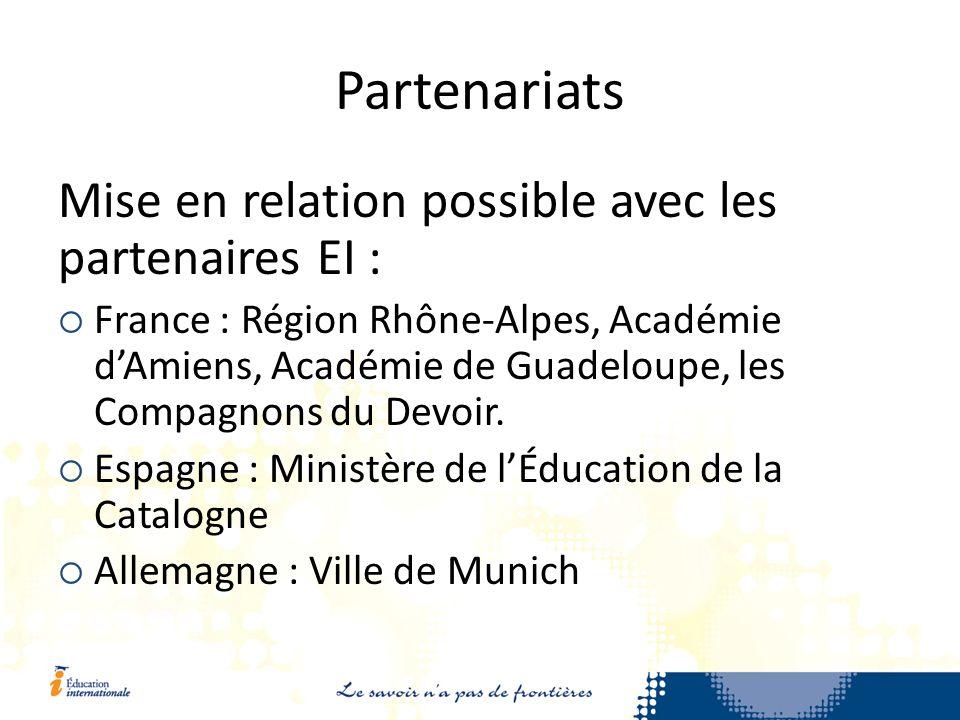 Partenariats Mise en relation possible avec les partenaires EI : France : Région Rhône-Alpes, Académie dAmiens, Académie de Guadeloupe, les Compagnons du Devoir.