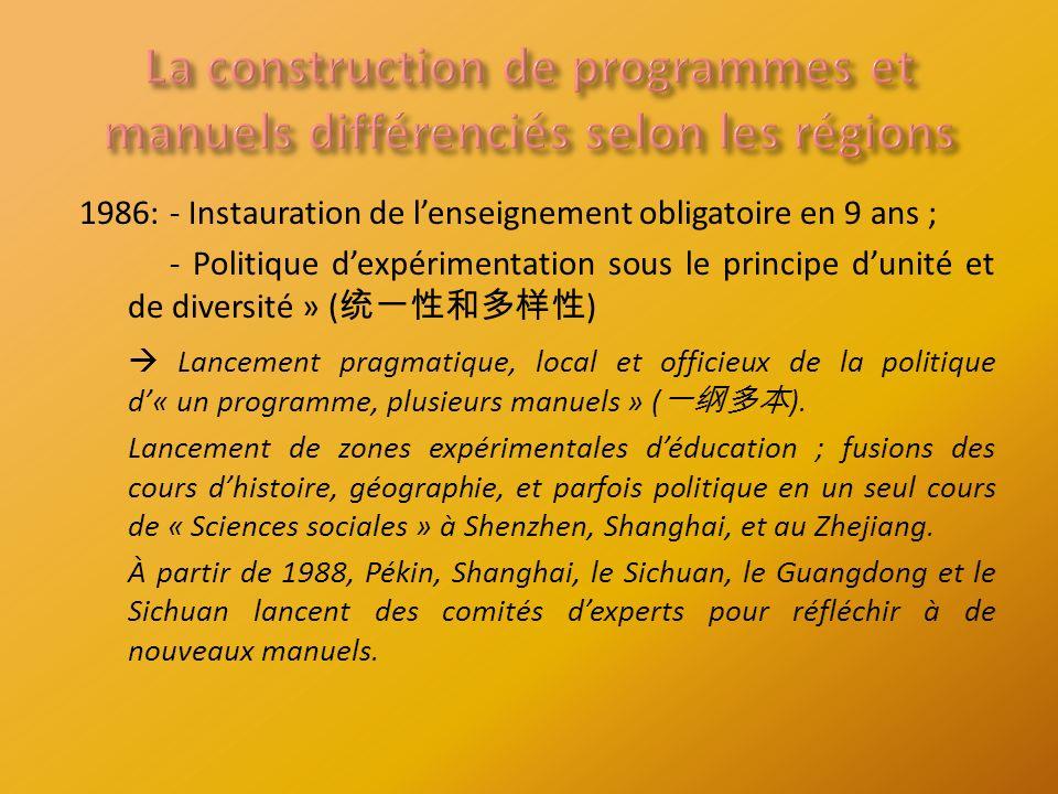 1986:- Instauration de lenseignement obligatoire en 9 ans ; - Politique dexpérimentation sous le principe dunité et de diversité » ( ) Lancement pragmatique, local et officieux de la politique d« un programme, plusieurs manuels » ( ).